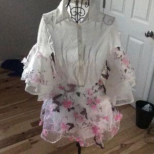Pants - Floral Ruffle Collared Shirt and Short Set